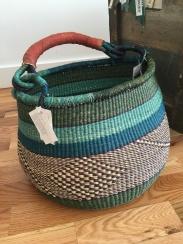 Ghanaian hand woven elephant grass basket - $75
